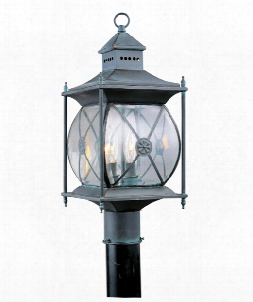 "Providence 8"" 2 Light Outdoor Post Lamp In Charcoal"