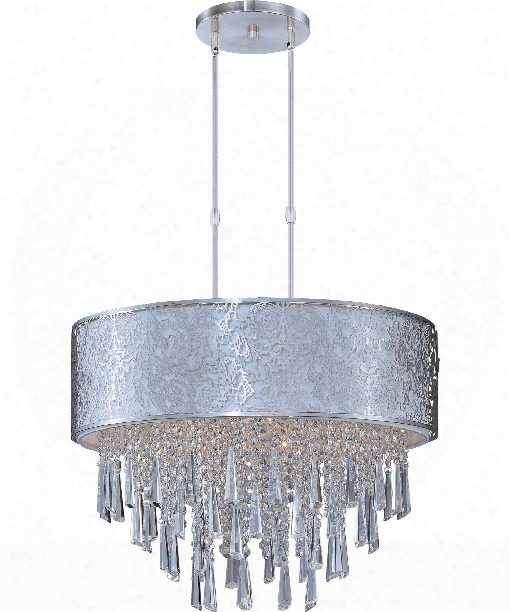 """Rapture 21"""" 9 Light Large Pendant In White With Satin Nickel"""