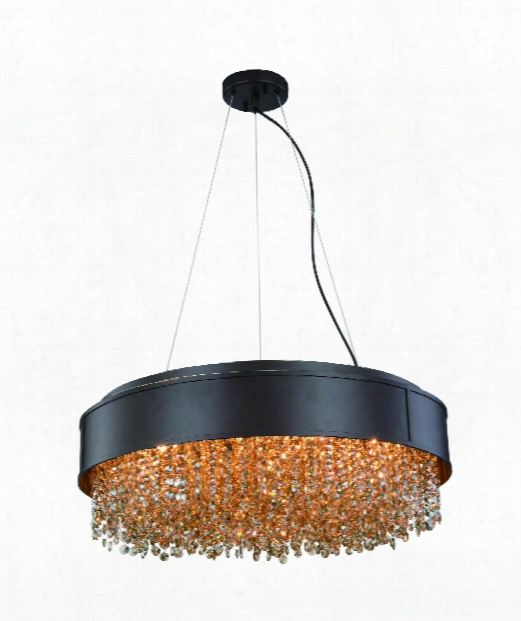 "Regency 24"" 6 Light Large Pendant In Matte Dark Brown"