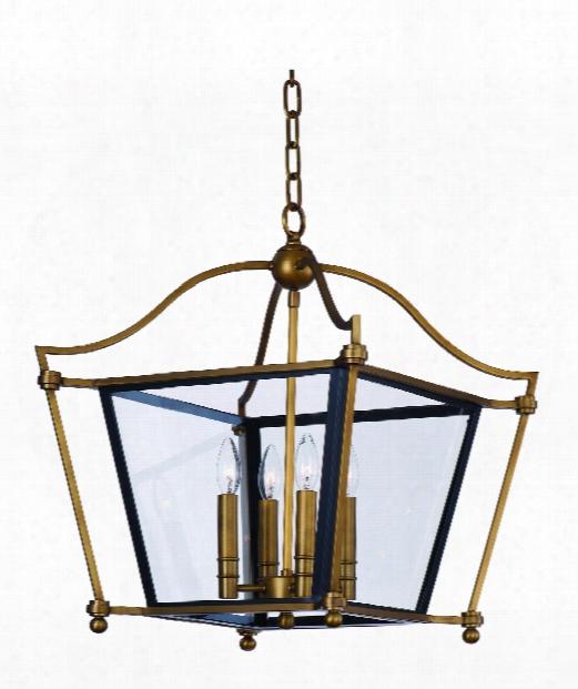 """Ritz 26"""" 4 Light Foyer Pendant In Natural Aged Brass"""