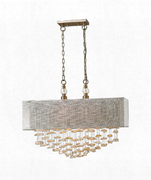 "Santina 30"" 2 Light Large Pendant In Brushed Brass"