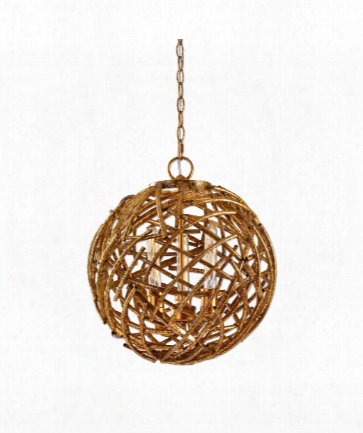"""Sphera 18"""" 3 Light Large Pendant In Distressed French Gold"""