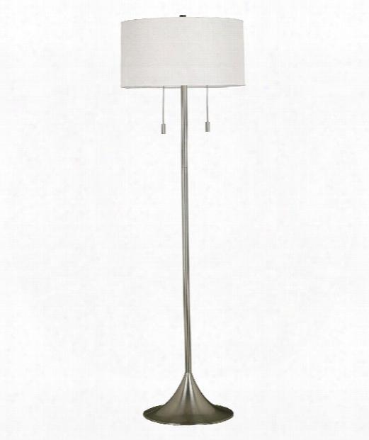"""Stowe 19"""" 2 Light Floor Lamp In Brushed Steel"""