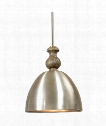 """Luna 22"""" 3 Light Large Pendant in Spun Aluminum With Antique Fleck And Grey Washed Wood."""