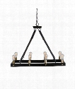 "Marlow 37"" 8 Light Chandelier in Combination Of Dark Antique Bronze And Weathered Bronze With Leather Straps."