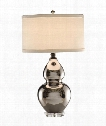 Shiny 1 Light Table Lamp in Ceramic Metallic Silver Gourd
