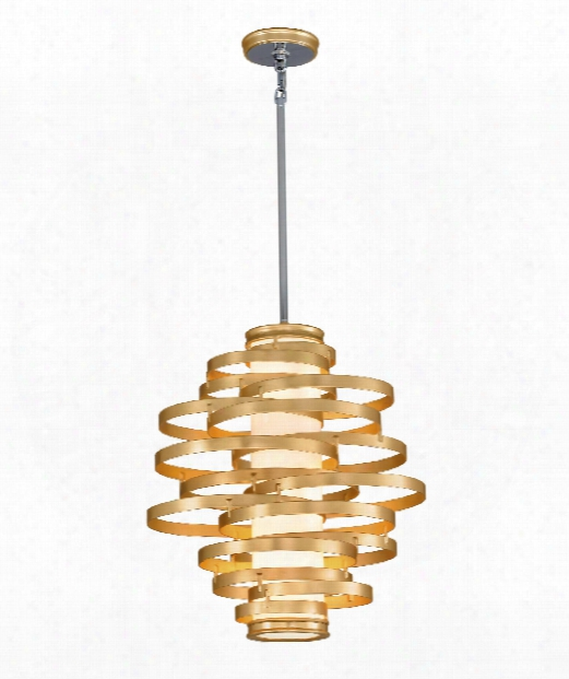 "Vertigo 23"" Led 3 Light Large Pendant In Gold Leaf With Polished Stainless Accents"