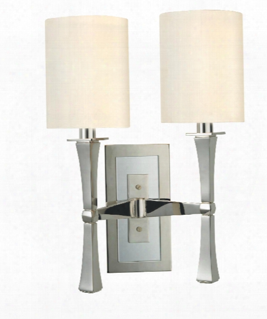 "York 13"" 2 Light Wall Sconce In Polished Nickel"