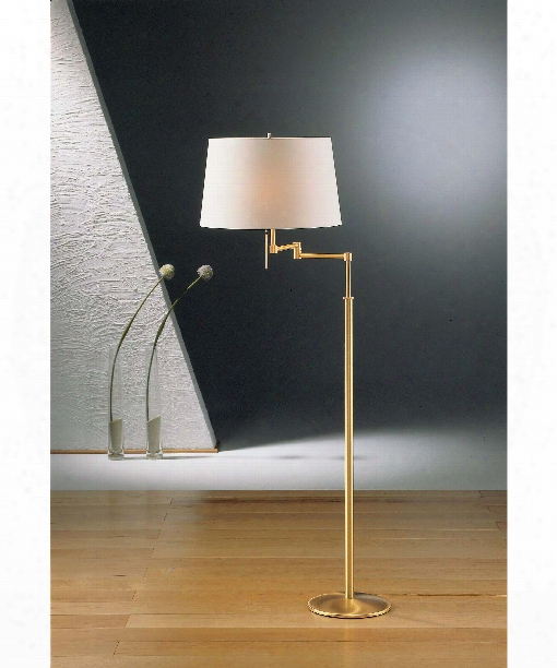 "16"" 2 Light Floor Lamp In Brushed Brass"