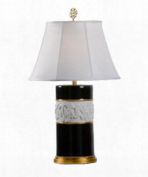 """9"""" 1 Light Table Lamp In Black And White Glaze - Porcelain"""