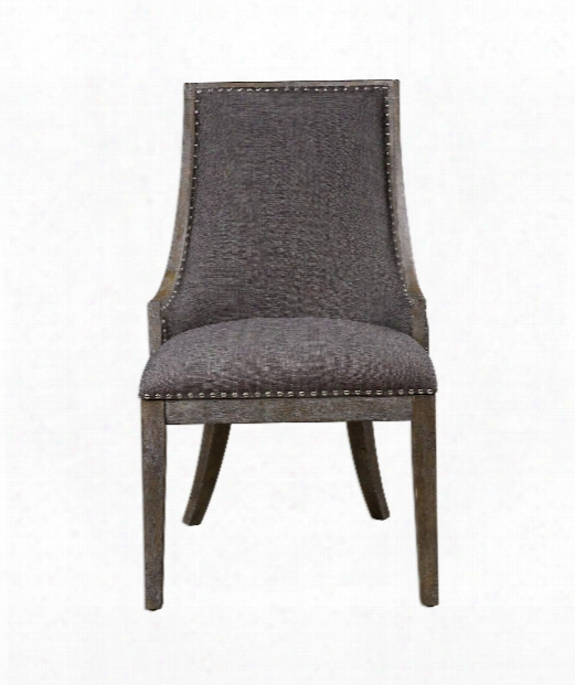 """Aidrian 19"""" Occasional Chair In Charcoal Gray Linen-polished Nickel Nail Head-honey Stain"""
