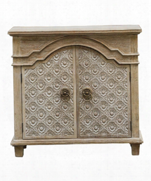 """Allaire 35"""" Console Cabinet In Aged Ivory Mahogany Wood-antique Bronze"""