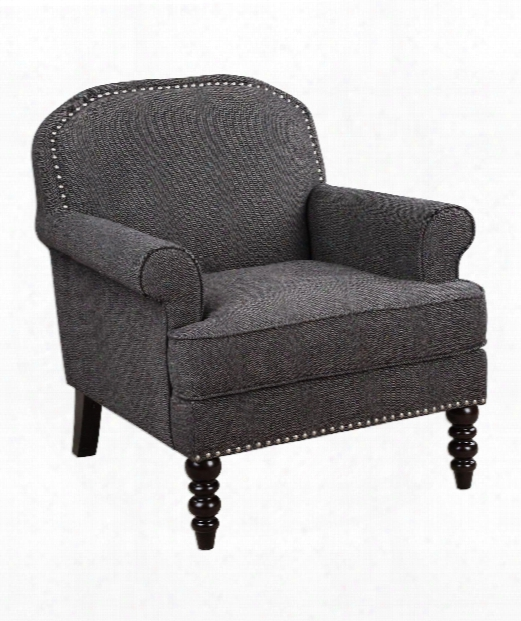 """Alroy 32"""" Arm Chair In Charcoal Gray-brushed Nickel-dark Espresso"""