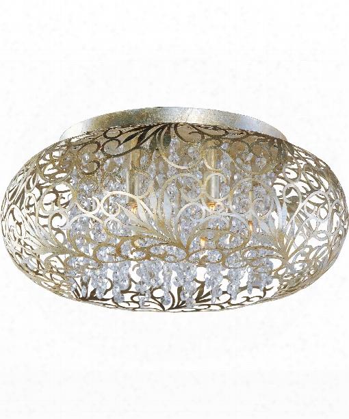 """Arabesque 18"""" 3 Light Flush Mount In Golden Silver"""