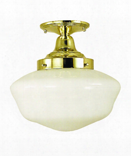 "Architectural 12"" 1 Light Semi Flush Mount In Antique Brass"