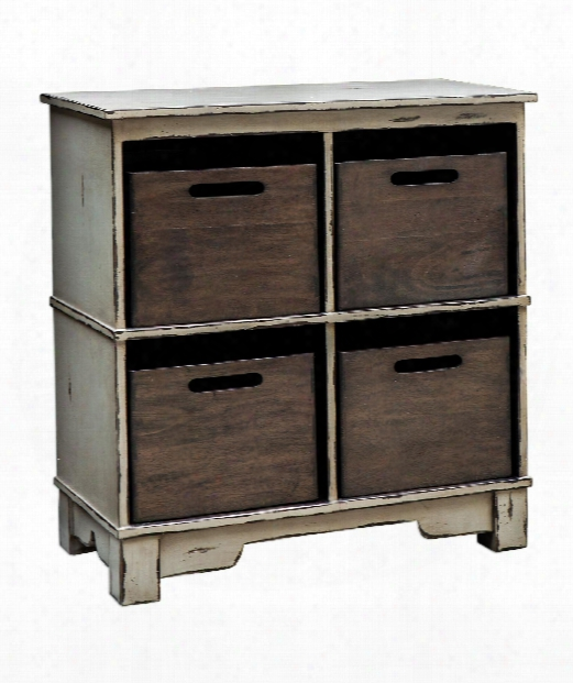 "Ardusin Gray 33"" Console Cabinet In Distressed Gray"