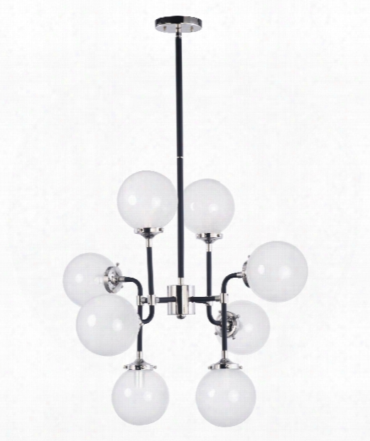 """Atom 28"""" 8 Light Large Pendant In Black And Polished Nickel"""