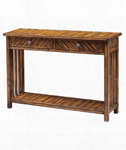 """Bartek 48"""" Console Table In Honey Stain With Rubbed Black-aged Brass"""