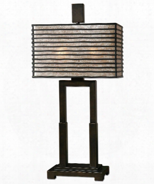 """Becton 14"""" 2 Light Table Lamp In Oil Rubbed Bronze"""