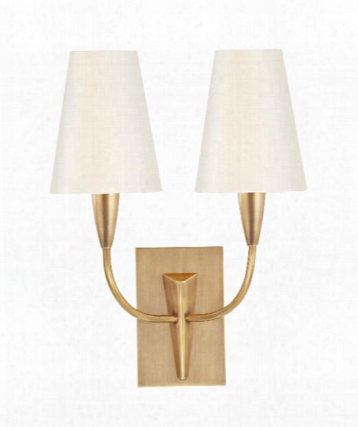 """Berkley 12"""" 2 Light Wall Sconce In Aged Brass"""