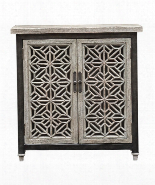 "Branwen 34"" Console Cabinet In Aged White Mahogany-light Gray"