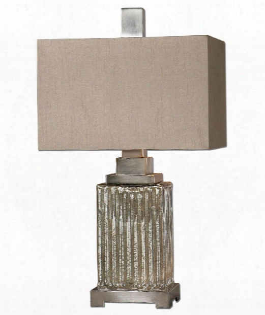 "Canino 16"" 1 Light Table Lamp In Ribbed Mercury Glass"
