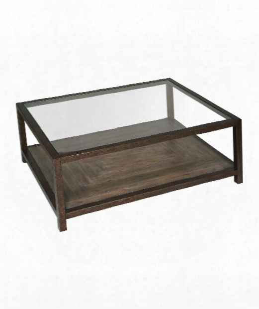 """Carter 48"""" Coffee Table In Heavily Aged Bronze"""