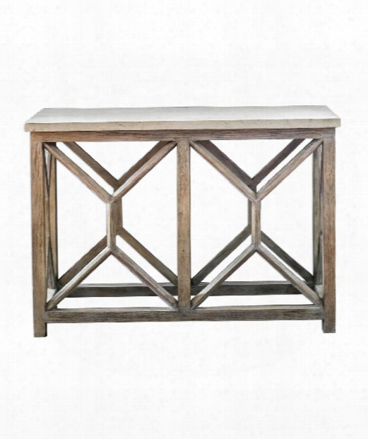 "Catali 48"" Console Table In Natural Ivory-warm Oatmeal Wash"