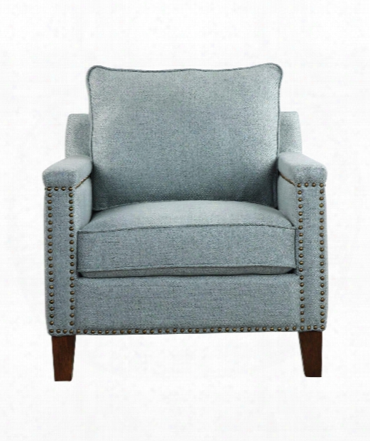 "Charlotta 31"" Arm Chair In Light Sea Mist-antique Brass-dark Walnut"