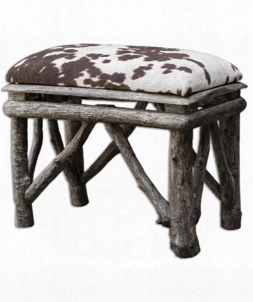 "Chavi 22"" Bench In Weathered Driftwood-chocolate And Milky White"