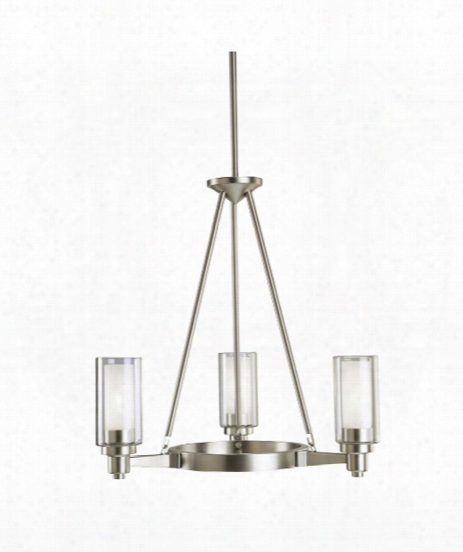 "Circolo 22"" 3 Light Chandelier In Brushed Nickel"
