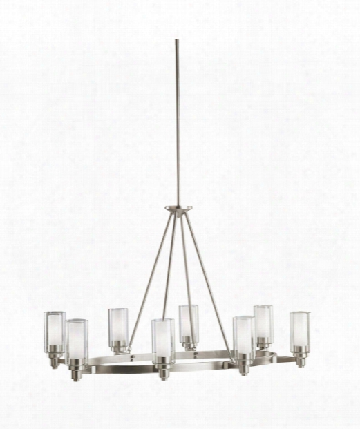 "Circolo 36"" 8 Light Chandelier In Brushed Nickel"