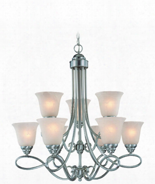 "Cordova 29"" 9 Light Chandelier In Satin Nickel"