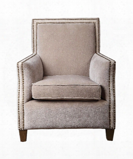 """Darick 31"""" Arm Chair In Oatmeal White-antique Brass Nail Heads-honey Stained Birch"""