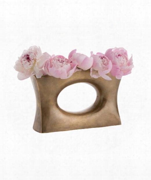 """Delaney 11"""" Vase-urn In Antique Brass"""