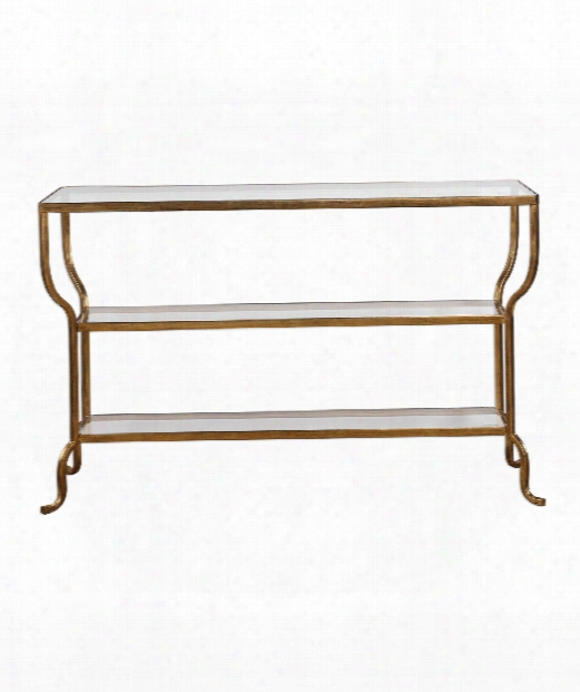 """Deline 54"""" Console Table In Hand Forged Iron With Antiqued Gold"""