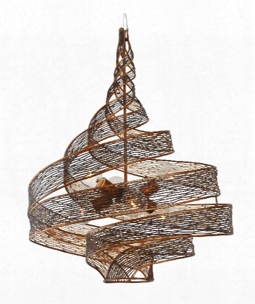 """Flow 26"""" 6 Light Large Pendant In Hammered Ore"""