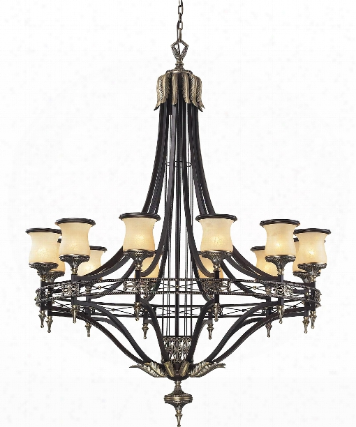 "Georgian Court 48"" 12 Light Chandelier In Antique Bronze And Dark Umber"