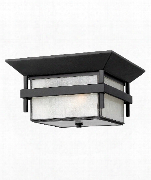 "Harbor 12"" 1 Light Outdoor Flush Mount In Satin Black"