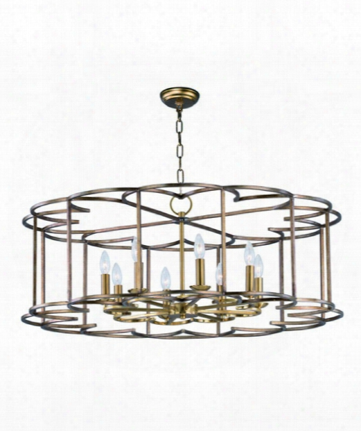 "Helix 38"" 8 Daybreak Chandelier In Bronze Fusion"