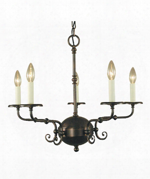 "Jamestown 26"" 5 Light Chandelier In Antique Brass"