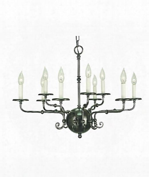"""Jamestown 30"""" 9 Light Chandelier In Antique Silver"""
