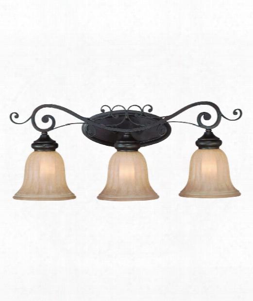 """Lagrange 26"""" 3 Light Bath Vanity Light In Seville Iron"""