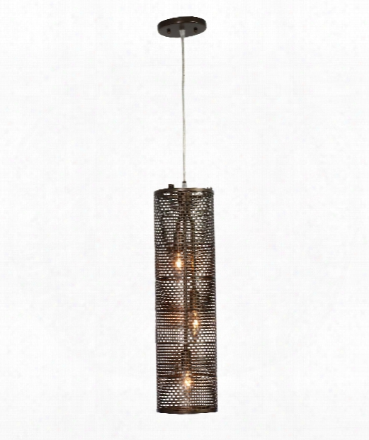 "Lit-mesh Test 6"" 3 Light Mini Pendant In New Bronze"