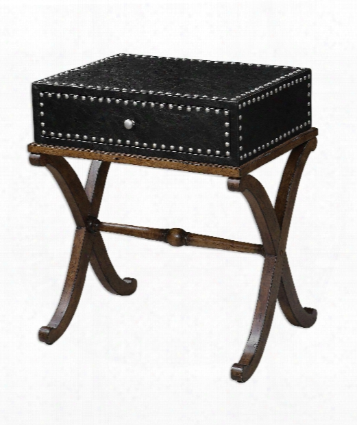 """Lok 24"""" Accent Table In Black Faux Leather"""