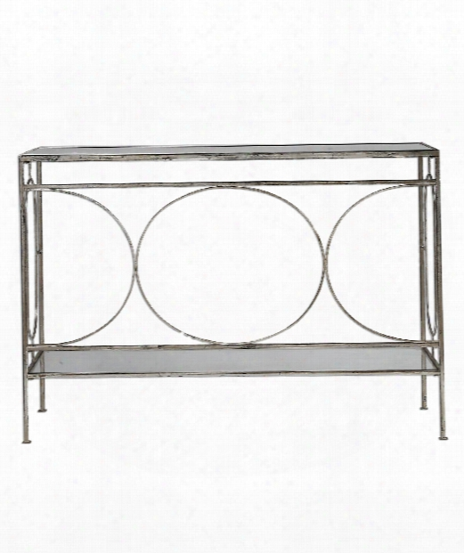"""Luano 48"""" Console Table In Distressed Antique Silver"""