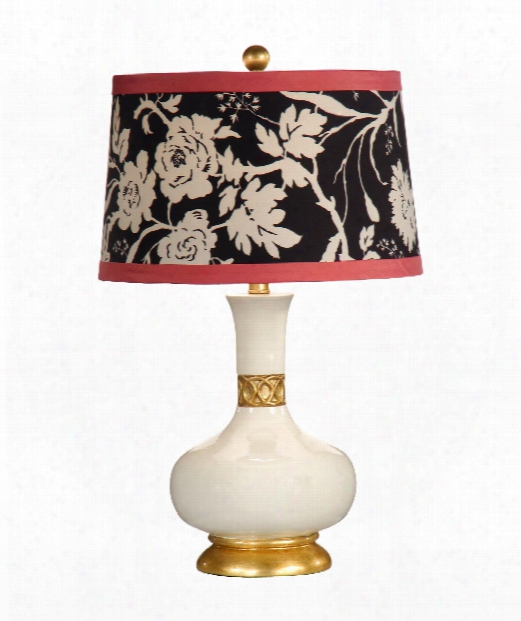 Mimi (gardenia) 1 Light Table Lamp In Cream And Gold Leaf Accents
