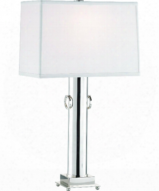 """Mm Ondine 5"""" 1 Light Table Lamp In Silver Plated"""
