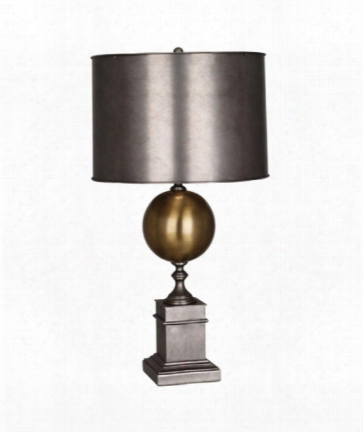 "Mm Regine 7"" 1 Light Table Lamp In Patina Nickel"
