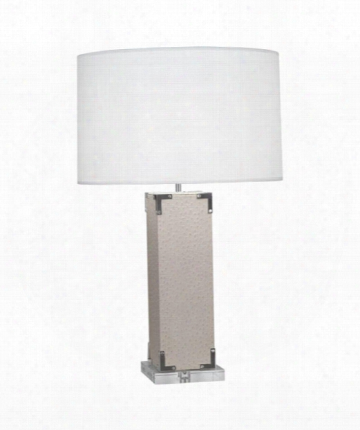 """Mm Spence 5"""" 1 Light Table Lamp In Silver Plated-ecru Faux Ostritch"""